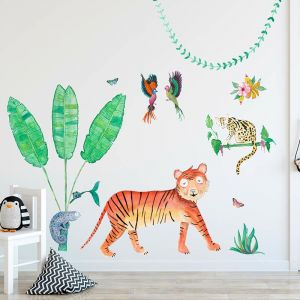 Cut-And-Stick Jungalow Tiger Set | Wall Decal