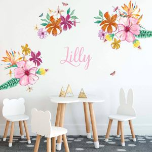 Cut-And-Stick Jungalow Tropical Flowers Set | Wall Decal