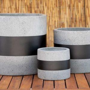 Cylinder Planter   Grey Terrazzo With Black Ribbon