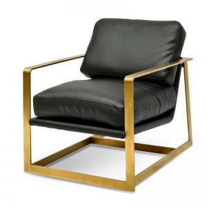 Daisy Armchair - Black PU | Gold Base | Interior Secrets