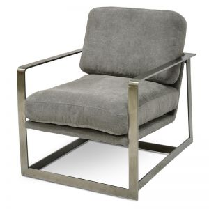 Daisy Fabric Armchair - Coin Grey | Silver Base | Interior Secrets