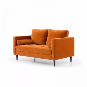 Damon 2 Seater Sofa - Orange Velvet with Black Legs