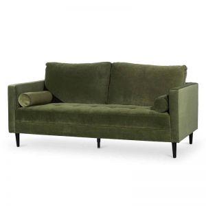 Damon 3 Seater Sofa - Olive Velvet with Black Legs