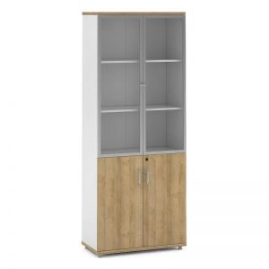 Dante Display Cabinet | 2 Door Bookcase 80cm |  Kaldi Wood + White
