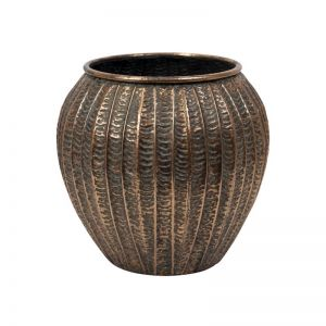 Darbin Metal Ribbed Urn | Bronze