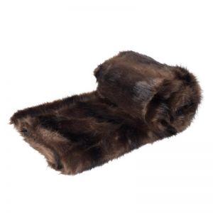 Dark Sable Faux Fur Throw Rug 125x150cm Brown