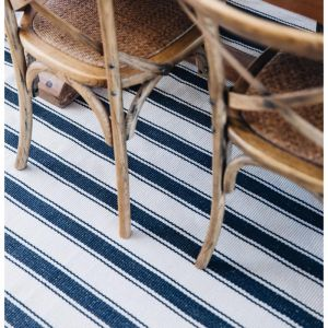 Dash & Albert Blue Awning Stripe Indoor/Outdoor PET Runner | 152x243cm