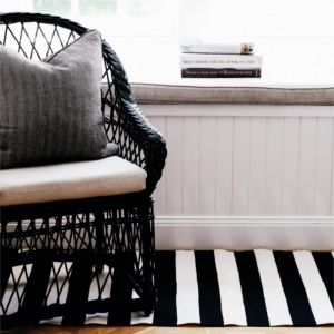 Dash & Albert Catamaran Stripe Black & Ivory Indoor/Outdoor Rug  | 76 x 243cm