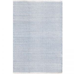 Dash & Albert Herringbone Swedish Blue Cotton Rug | 182 x 274cm