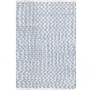 Dash & Albert Herringbone Swedish Blue Cotton Rug | 76x243cm