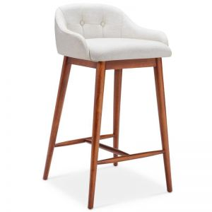 DASH Bar Stool - Off White/Walnut