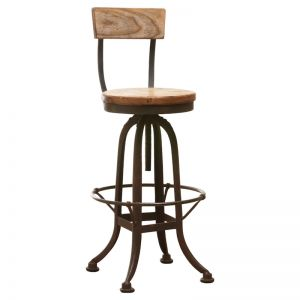 Decker Recycled Elm Stool With Back | Natural | Schots