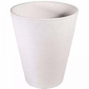 Decorative Textured Round White Planter | 47cm