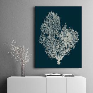 Deep Blue Coral   Canvas Wall Art