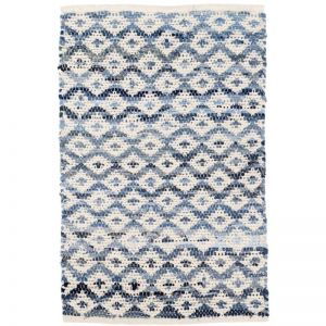 Denim Rag Diamond Ivory | Cotton Woven Rug Runner 76 x 243cm
