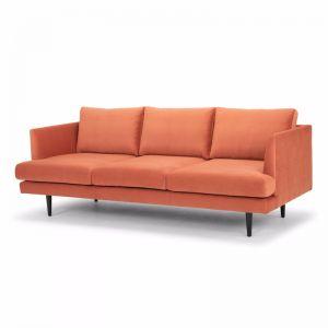 Denmark 3 Seater Fabric Sofa - Dusty Orange with Black Legs