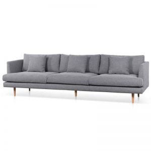 Denmark Fabric Sofa   Graphite Grey and Natural Legs   4 Seater