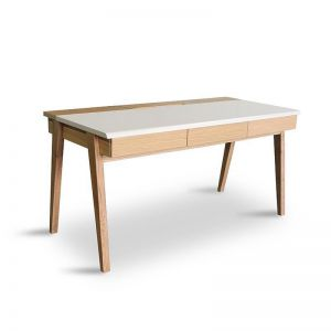Dexter Computer Desk | 1.5M | Matt White/Natural Leg | Modern Furniture