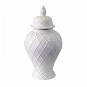 Diamond Ginger Jar | White
