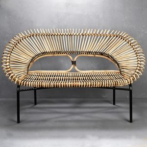 Diia Rattan Loveseat in Natural with Black Trim | Custom Made