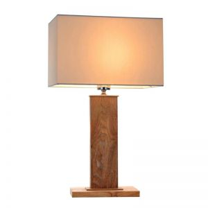 Dion Table Lamp | Wood and Creamy White Fabric