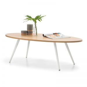 Dizzy Oval Coffee Table   Light Oak & White