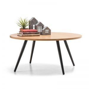 Dizzy Round Coffee Table | Light Oak & Black