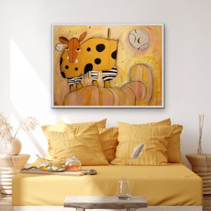 Dotty The Cow and The Big Moon | Canvas Print