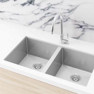 Double Bowl Kitchen Sink | 760x440x200mm | Brushed Nickel