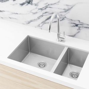Double Bowl PVD Kitchen Sink | 670x440x200mm | Brushed Nickel