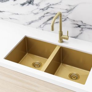 Double Bowl PVD Kitchen Sink | 860x440x200mm | Brushed Bronze Gold