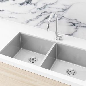 Double Bowl PVD Kitchen Sink | 860x440x200mm | Brushed Nickel