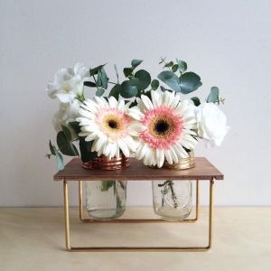 Double Brass Flower Frame with Jars