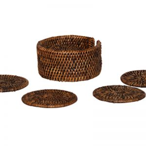 Drink Coaster set of 6 in handwoven rattan | Brown by SATARA