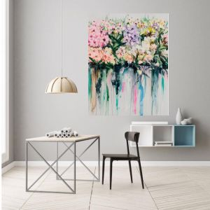 Drip Flowers | P1004-343 | Canvas Print | Colour Clash Studio