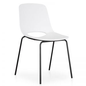 Drona Dining Chair | White Seat - Black Legs | Interior Secrets