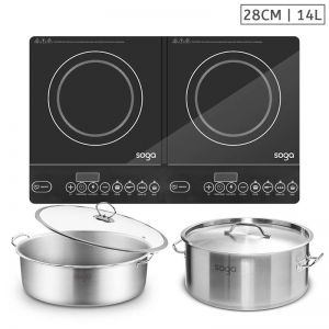 Dual Burner Induction Cooktop | 14L Stainless Steel Stockpot | 28cm Induction Casserole