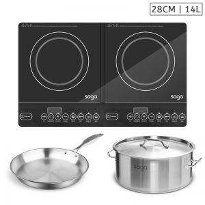 Dual Burner Induction Cooktop | 14L Stainless Steel Stockpot | 28cm Induction Fry Pan