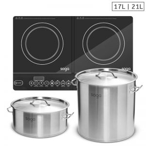 Dual Burner Induction Cooktop | 21L and 17L Stainless Steel Stock Pot