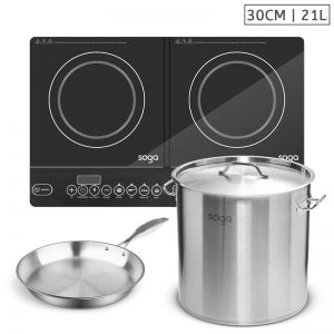 Dual Burner Induction Cooktop | 21L Stainless Steel Stockpot 30cm | 30cm Induction Fry Pan