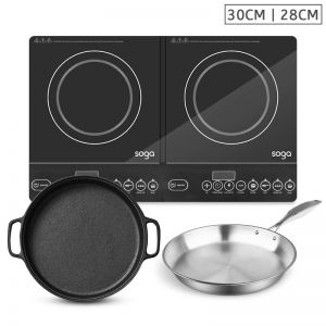 Dual Burner Induction Cooktop | 30cm Cast Iron Frying Pan Skillet | 28cm Induction Fry Pan