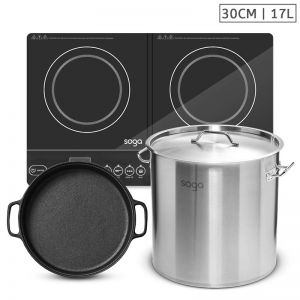 Dual Burner Induction Cooktop | 30cm Cast Iron Skillet | 17L Stainless Steel Stockpot