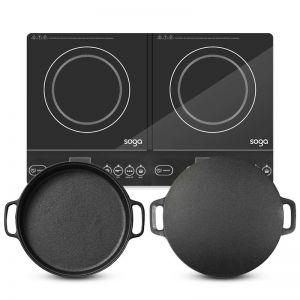Dual Burner Induction Cooktop | 30cm Cast Iron Skillet | 34cm Induction Crepe Pan