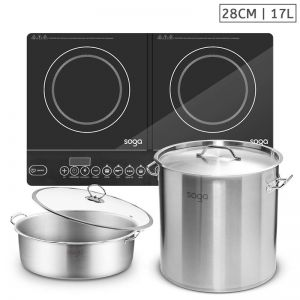 Dual Burner Induction Cooktop Stove | 17L Stainless Steel Stockpot | 28cm Induction Casserole