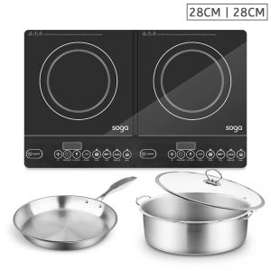 Dual Burners Cooktop 28cm | With Fry Pan 28cm | Stainless Steel