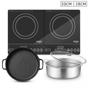 Dual Burners Cooktop Stove 30cm | Cast Iron Frying Pan Skillet | Induction Casserole 28cm