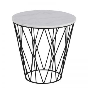 Dudley Side Table Marble | 50cm | White