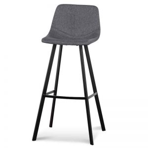 Duke Fabric Bar Stool | 80cm | Dark Grey | Set of 2