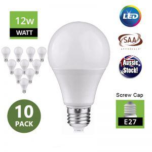 E27 Screw Head Globe 12W LED Ivory Bulb 240V Milky - 10 Pack
