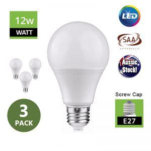 E27 Screw Head Globe 12W LED Ivory Bulb 240V Milky - 3 Pack